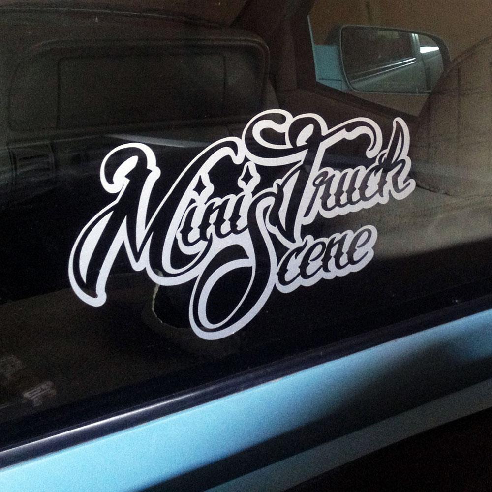 Mini Truck Scene Large Script Logo Stickers Low Label