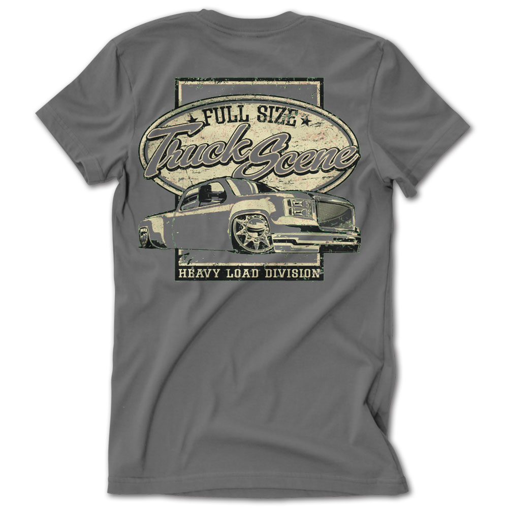 Full size truck scene heavy load dually gray tshirt low for Full size t shirt template