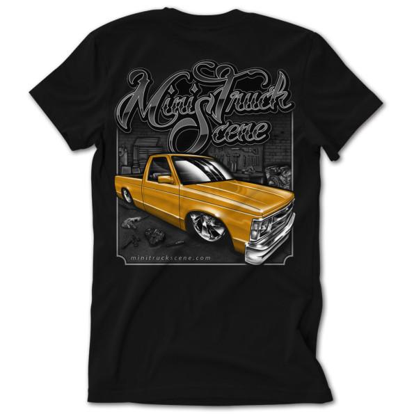 Mini Truck Scene Orange Garage Built Dime Tshirt