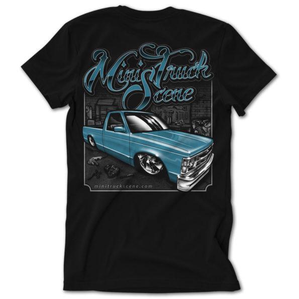 Mini Truck Scene Blue Garage Built Dime Tshirt