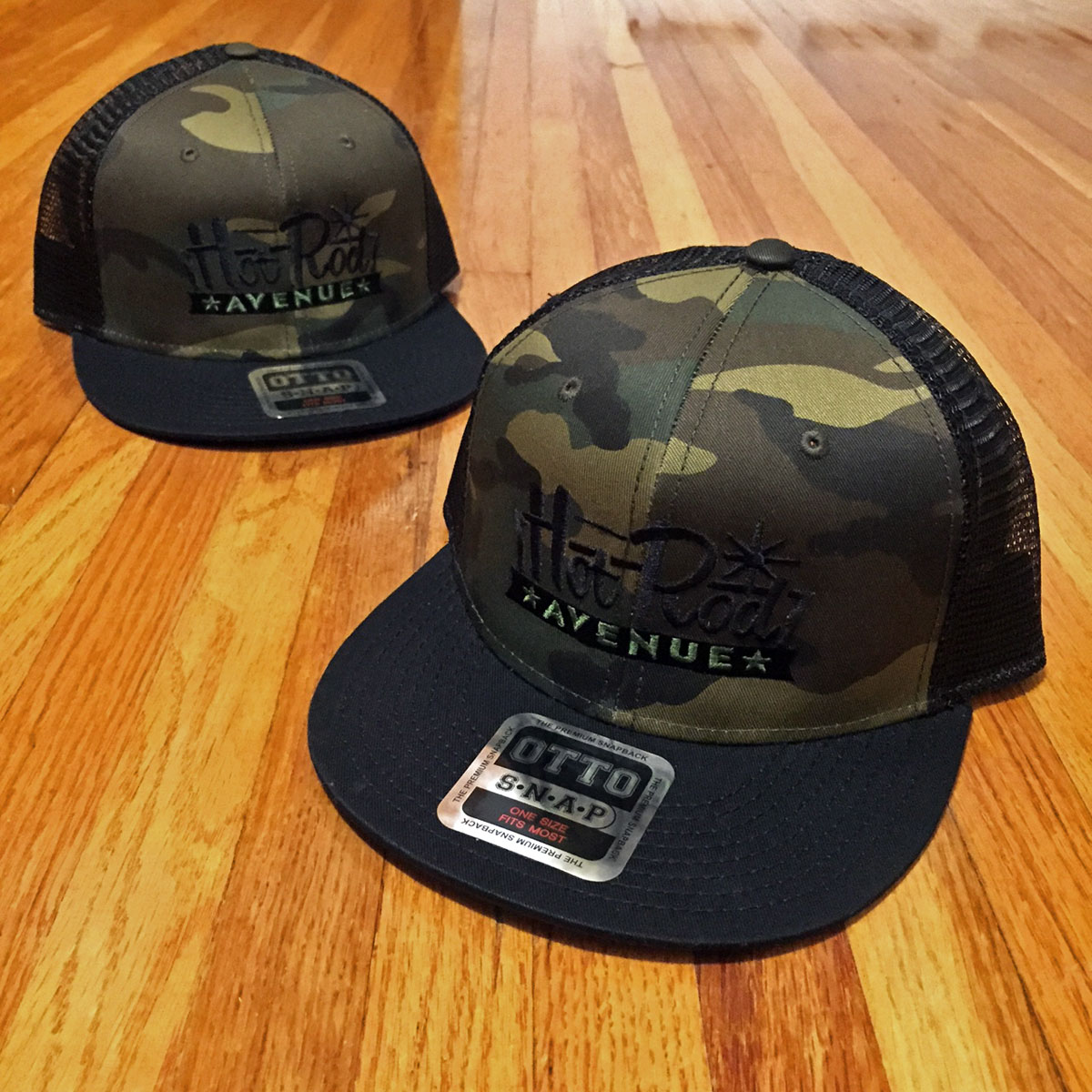 069271e303735 Hot Rod Avenue Camo Flatbill Trucker Hats – Low Label