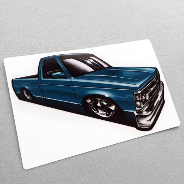 Mini Truck Scene Blue Garage Built Dime Stickers